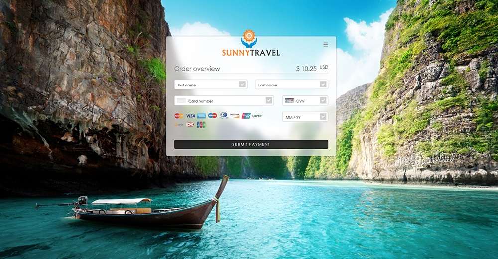 Paymentpage Sunny Travel