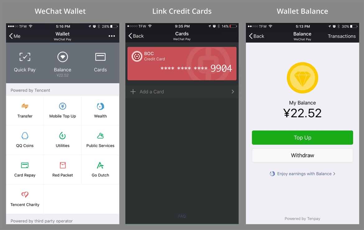WeChat Pay - wallet, credit card, balance
