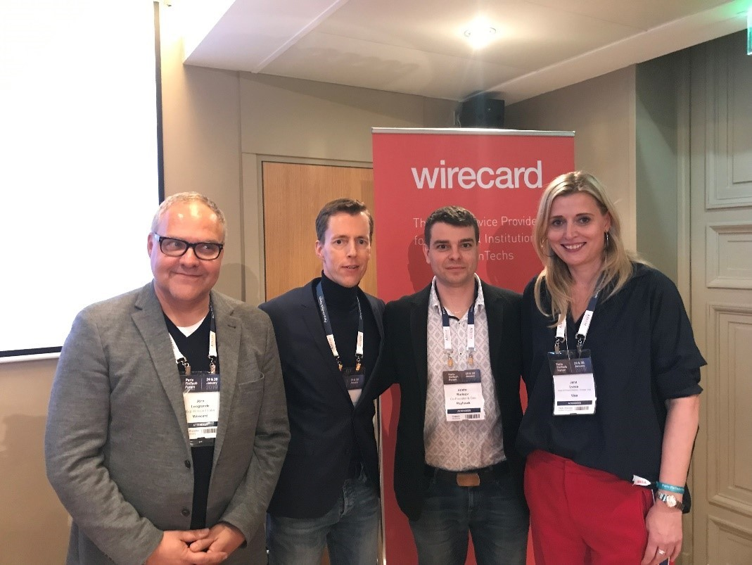 Jörn Leogrande, EVP of Innovation Labs at Wirecard, Thorsten Holten, Wirecard's EVP Sales Financial Institution and FinTech Europe, Payhawk CEO Hristo Borisov and Jana Lvova, Head of FinTech Delivery at Visa (from left to right).